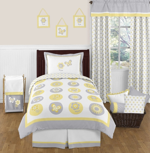 Mod Garden Childrens and Kids Bedding - 4pc Twin Set by Sweet Jojo Designs - Click to enlarge