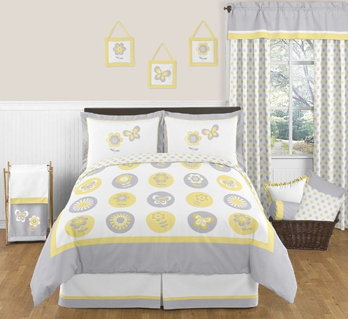 Mod Garden Childrens and Kids Bedding - 3pc Full / Queen Set by Sweet Jojo Designs - Click to enlarge