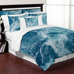 Modern Blue and White Ocean Seascape 3 Piece Full / Queen Teens College Bedding Set Collection