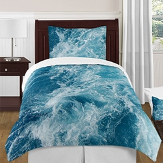 Modern Blue and White Ocean Seascape 4 Piece Twin / Twin XL Size Teens College Bedding Set Collection