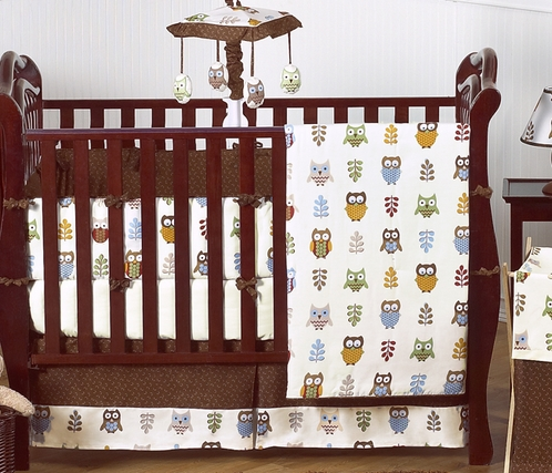 Night owl baby bedding 9 pc crib set only - Modern baby bedding sets ...