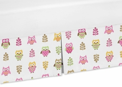 Modern Crib Bed Skirt for Pink Happy Owl Bedding Sets