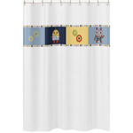 Modern Robot Kids Bathroom Fabric Bath Shower Curtain