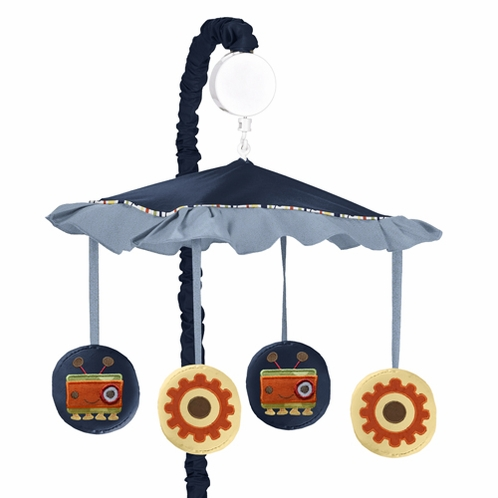 Modern Robot Musical Baby Crib Mobile by Sweet Jojo Designs - Click to enlarge