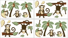 Monkey Baby and Kids Wall Decal Stickers - Set of 4 Sheets