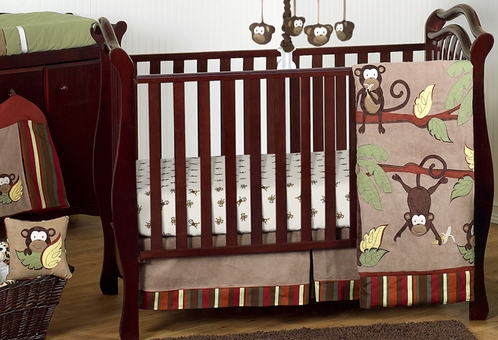 Monkey Baby Bedding - 11pc Boys Crib Set - Click to enlarge