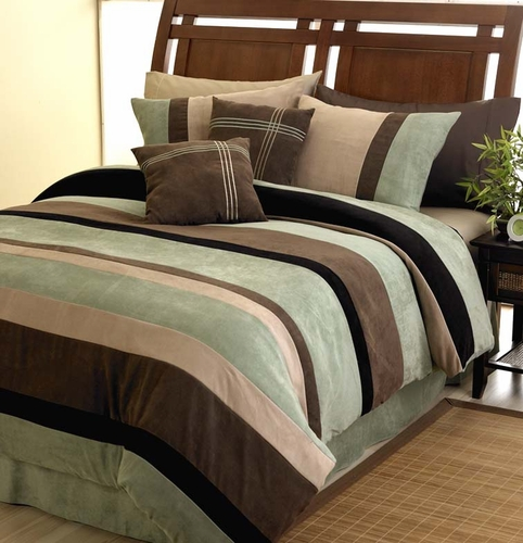 Moss, Black, Chocolate and Camel Jacaranda Striped MicroSuede 6-pc Luxury Duvet Cover Bedding Set - Click to enlarge