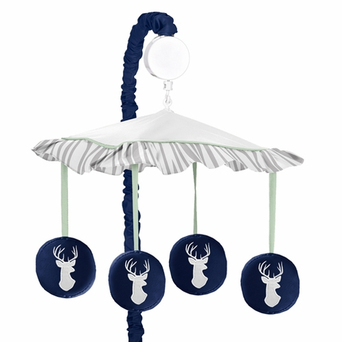 Musical Baby Crib Mobile for Navy, Mint and Grey Woodsy Collection by Sweet Jojo Designs - Click to enlarge