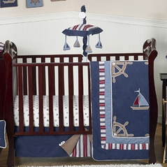 Nautical Nights Boys Sailboat Baby Bedding - 11pc Crib Set