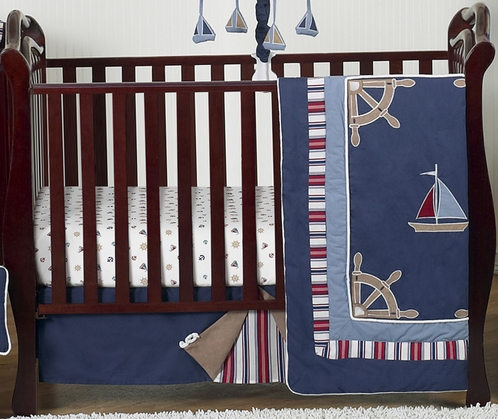 Nautical Nights Boys Sailboat Baby Bedding - 4pc Crib Set - Click to enlarge