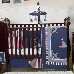 Nautical Nights Boys Sailboat Baby Bedding - 9 pc Crib Set