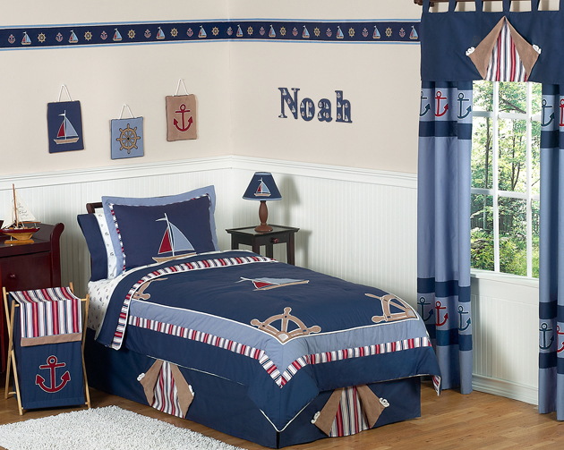Nautical Nights Boys Sailboat Childrens Bedding   3pc Full / Queen Set Only  $119.99