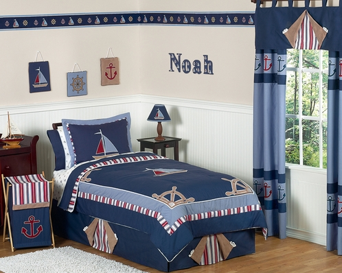 Nautical Nights Boys Sailboat Childrens Bedding - 4 pc Twin Set - Click to enlarge