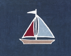 Nautical Nights Sailboat Accent Floor Rug