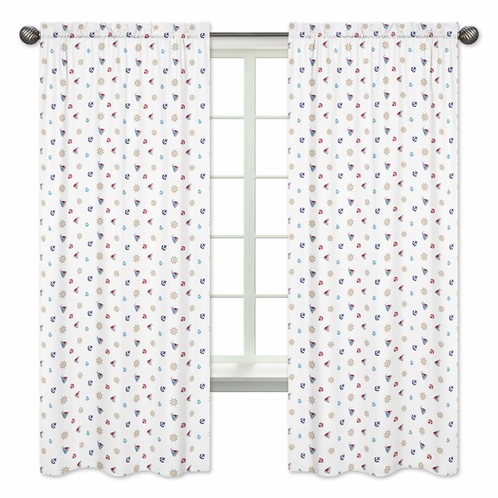Nautical Nights Sailboat Collection Window Treatment Panels by Sweet Jojo Designs - Set of 2 - Click to enlarge