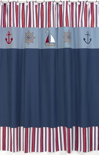 Nautical Nights Sailboat Kids Bathroom Fabric Bath Shower Curtain - Click to enlarge