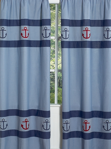 Nautical Nights Sailboat Window Treatment Panels - Set of 2 - Click to enlarge