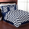 Navy and White Chevron 3pc Childrens and Teen Zig Zag Full / Queen Bedding Set Collection