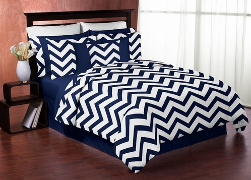 Navy and White Chevron 4pc Childrens and Kids Zig Zag Twin Bedding Set Collection - Click to enlarge