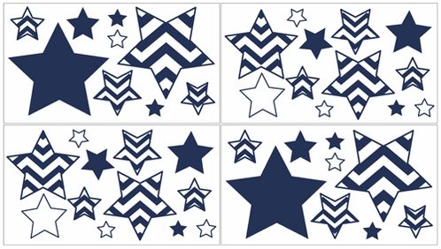 Navy And White Chevron Zig Zag Peel And Stick Wall Decal Stickers