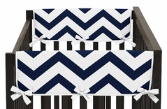 Navy and White Chevron Baby Crib Side Rail Guard Covers by Sweet Jojo Designs - Set of 2