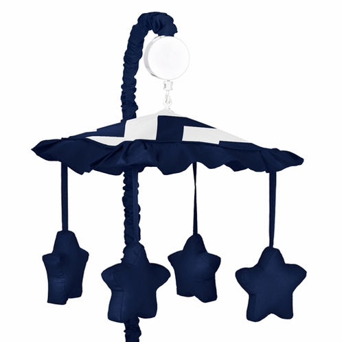 Navy and White Chevron Musical Baby Crib Mobile by Sweet Jojo Designs - Click to enlarge