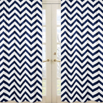 Navy and White Chevron Window Treatment Zig Zag Panels - Set of 2