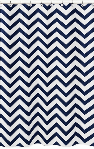 Navy and White Chevron Zig Zag Kids Bathroom Fabric Bath Shower Curtain - Click to enlarge