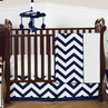 Navy and White Chevron ZigZag Baby Bedding - 4pc Crib Set by Sweet Jojo Designs