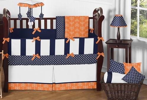 Orange and Navy Arrow Baby Bedding - 9pc Crib Set by Sweet Jojo Designs - Click to enlarge