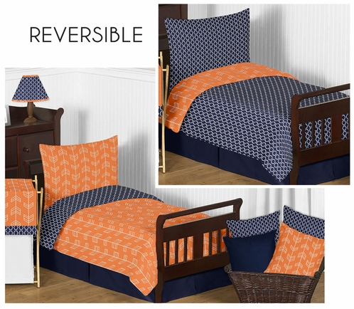 Orange and Navy Arrow Toddler Bedding - 5pc Set by Sweet Jojo Designs - Click to enlarge
