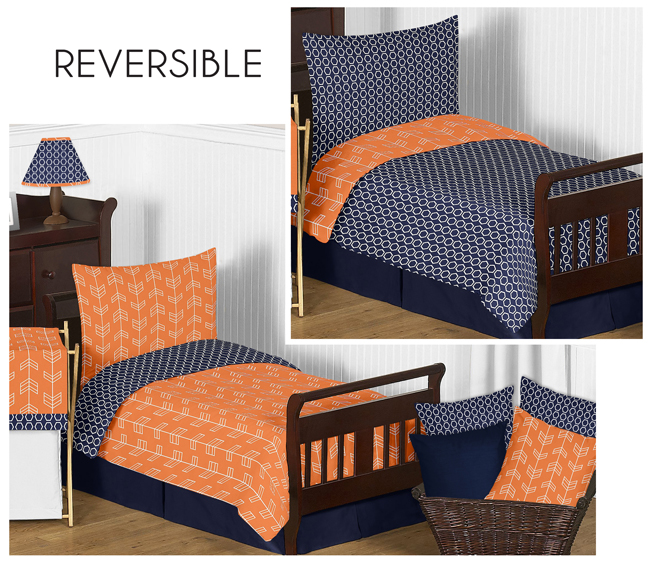 Orange And Navy Arrow Toddler Bedding 5pc Set By Sweet Jojo Designs Only 47 05