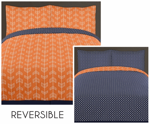 Orange and Navy Arrow 4pc Twin Bedding Set by Sweet Jojo Designs - Click to enlarge