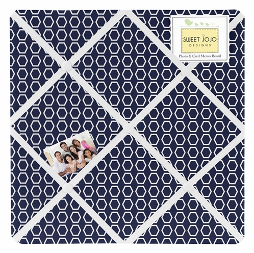 Navy and White Hexagon Fabric Memory/Memo Photo Bulletin Board for Sweet Jojo Designs Arrow Sets - Click to enlarge