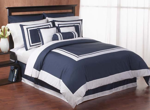 navy and white hotel duvet comforter cover 6 pc bedding set click to enlarge - Navy Bedding