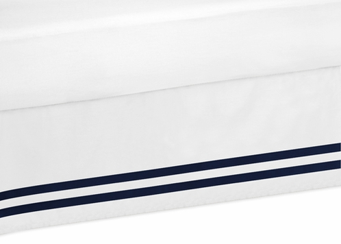 Navy and White Queen Bed Skirt for Anchors Away Nautical Bedding Sets - Click to enlarge