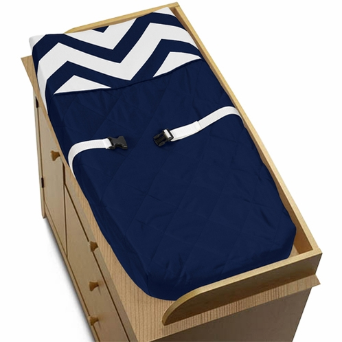 Navy and White Zig Zag Chevron Baby Changing Pad Cover by Sweet Jojo Designs - Click to enlarge
