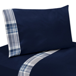 Navy Blue 4 pc Queen Sheet Set for Plaid Boys Bedding Collection