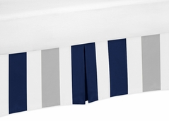 Navy Blue and Gray Crib Bed Skirt for Stripe Baby Bedding Sets by Sweet Jojo Designs