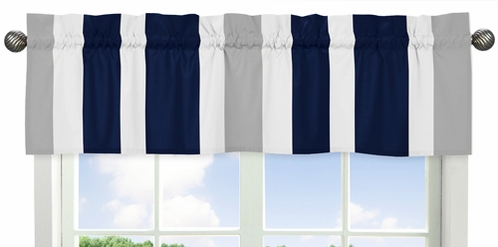 Navy Blue and Gray Stripe�Collection Window Valance by Sweet Jojo Designs - Click to enlarge