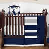 Navy Blue and Gray Stripe Baby Bedding - 4pc Crib Set by Sweet Jojo Designs