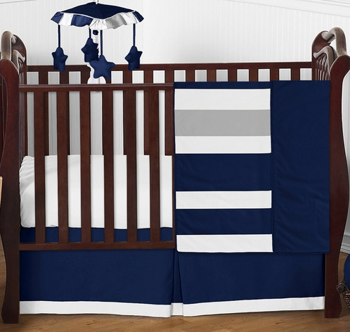 Navy Blue and Gray Stripe Baby Bedding - 4pc Crib Set by Sweet Jojo Designs - Click to enlarge