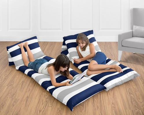 Navy Blue and Gray Stripe Collection Kids Teen Floor Pillow Case Lounger Cushion Cover by Sweet Jojo Designs - Click to enlarge