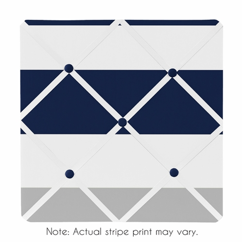 Navy Blue and Gray Stripe Fabric Memory/Memo Photo Bulletin Board - Click to enlarge
