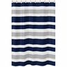 Navy Blue and Gray Stripe Kids Bathroom Fabric Bath Shower Curtain