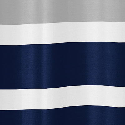 Navy Blue And Gray Stripe Kids Bathroom Fabric Bath Shower Curtain Only  $39.99