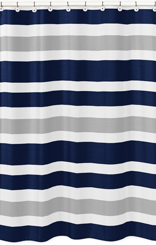 Navy Blue And Gray Stripe Kids Bathroom Fabric Bath Shower Curtain Click To Enlarge