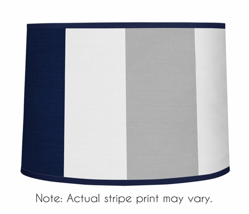 Navy Blue and Gray Stripe Lamp Shade by Sweet Jojo Designs - Click to enlarge