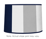 Navy Blue and Gray Stripe Lamp Shade by Sweet Jojo Designs