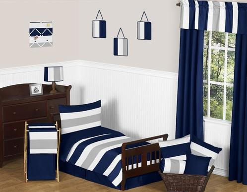Navy Blue and Gray Stripe Toddler Bedding - 5pc Set by Sweet Jojo Designs - Click to enlarge